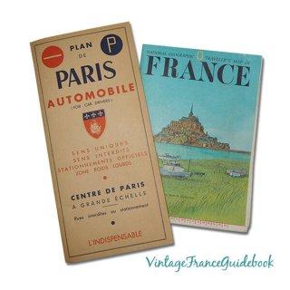 森ガール 雑貨  フランス蚤の市より ヴィンテージガイドブック2冊セット 【市内ドライバーマップ・郊外案内など】