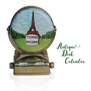 フランス蚤の市より アンティーク 回転式 卓上カレンダー(エッフェル塔 凱旋門)