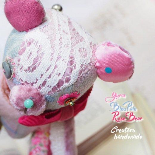 ベア ハンドメイド ぬいぐるみ【bleu pale−rose ペールブル ローズ 】〜 yuria手芸店【画像7】