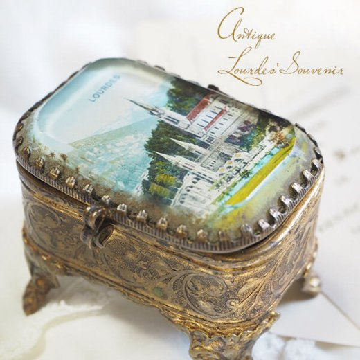 フランス ルルドの泉 アンティーク ジュエリーボックス【 バジリカ聖堂 】【画像3】