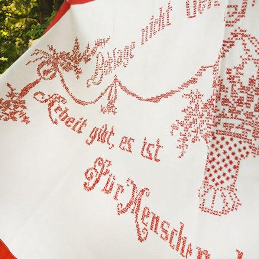 【送料無料】ベルギー 1900年代 アンティーク クロスステッチ 手刺繍 motto バナー