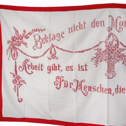 【送料無料】ベルギー 1900年代 アンティーク クロスステッチ 手刺繍 motto バナー【画像3】