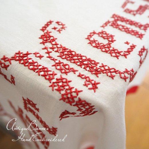 【送料無料】ベルギー 1900年代 アンティーク クロスステッチ 手刺繍 motto バナー【画像4】