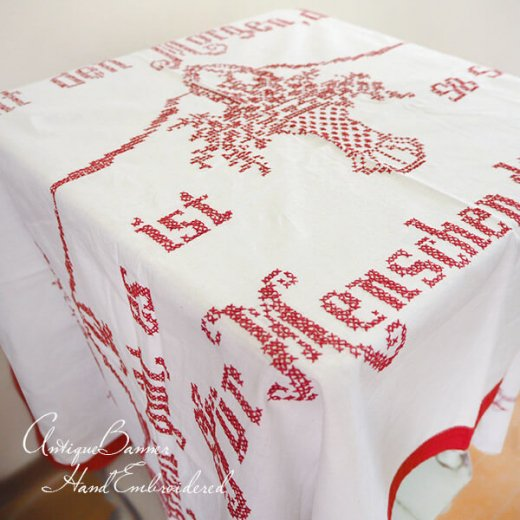 【送料無料】ベルギー 1900年代 アンティーク クロスステッチ 手刺繍 motto バナー【画像5】