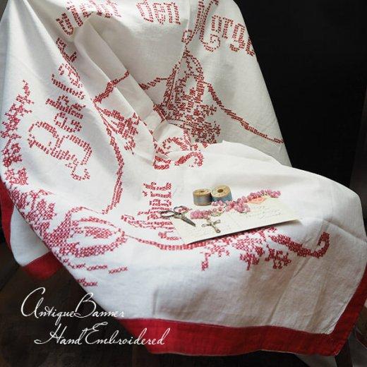 【送料無料】ベルギー 1900年代 アンティーク クロスステッチ 手刺繍 motto バナー【画像7】