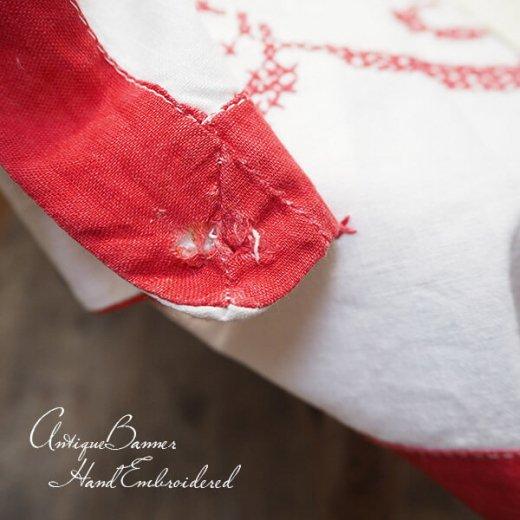 【送料無料】ベルギー 1900年代 アンティーク クロスステッチ 手刺繍 motto バナー【画像10】