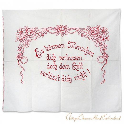 【送料無料】ベルギー 1900年代 アンティーク 薔薇モチーフ 手刺繍 motto バナー【画像2】