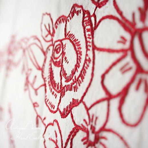 【送料無料】ベルギー 1900年代 アンティーク 薔薇モチーフ 手刺繍 motto バナー【画像3】