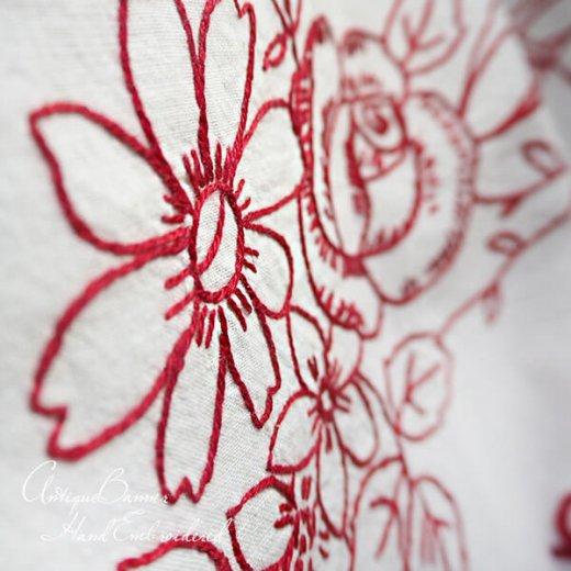 【送料無料】ベルギー 1900年代 アンティーク 薔薇モチーフ 手刺繍 motto バナー【画像4】