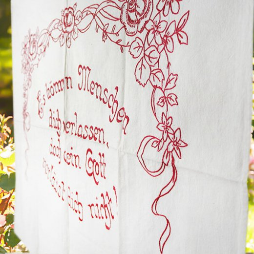 【送料無料】ベルギー 1900年代 アンティーク 薔薇モチーフ 手刺繍 motto バナー【画像5】