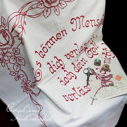 【送料無料】ベルギー 1900年代 アンティーク 薔薇モチーフ 手刺繍 motto バナー【画像7】