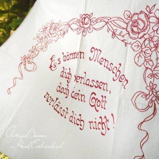 ガーリー & 乙女 アンティーク ヴィンテージ 【送料無料】ベルギー 1900年代 アンティーク 薔薇モチーフ 手刺繍 motto バナー