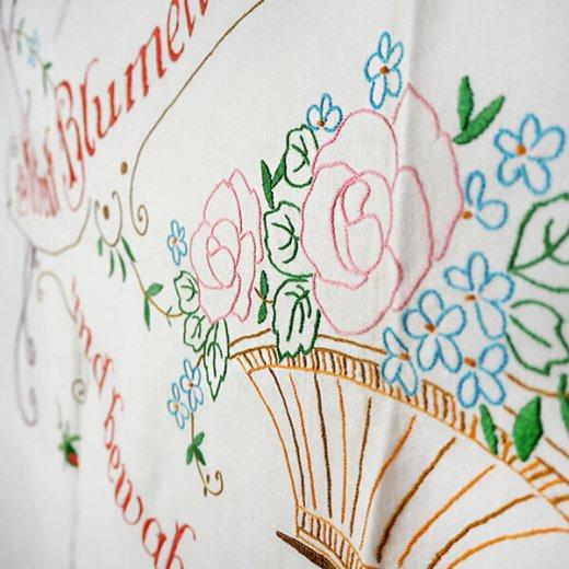 【送料無料】ドイツ 1920年代 アンティーク 花かご 手刺繍 motto バナー【画像3】