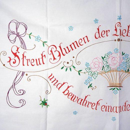 【送料無料】ドイツ 1920年代 アンティーク 花かご 手刺繍 motto バナー【画像4】