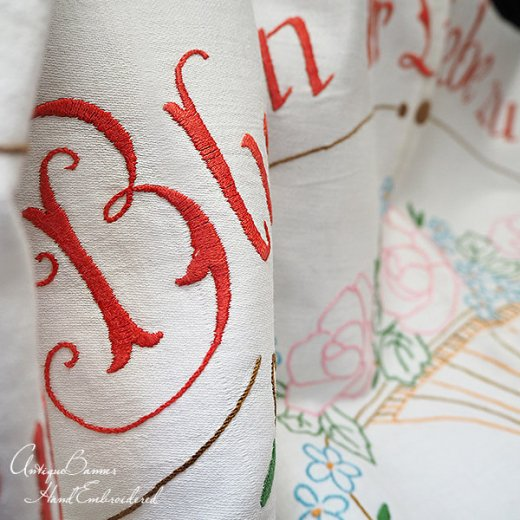 【送料無料】ドイツ 1920年代 アンティーク 花かご 手刺繍 motto バナー【画像7】