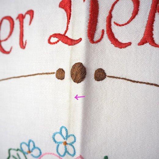 【送料無料】ドイツ 1920年代 アンティーク 花かご 手刺繍 motto バナー【画像8】