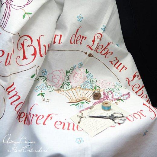 【送料無料】ドイツ 1920年代 アンティーク 花かご 手刺繍 motto バナー【画像9】