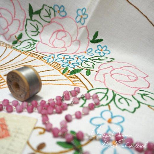 【送料無料】ドイツ 1920年代 アンティーク 花かご 手刺繍 motto バナー【画像10】