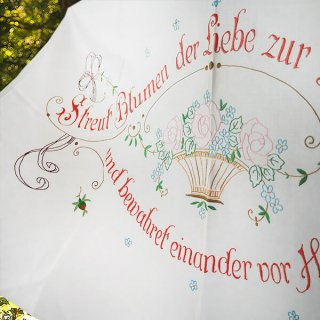 【送料無料】ドイツ 1920年代 アンティーク 花かご 手刺繍 motto バナー
