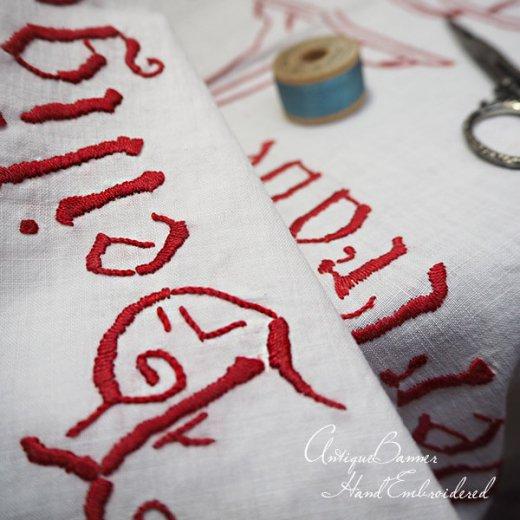 【送料無料】レア ベルギー 1900年代 アンティーク 教会またはチャペルの祭壇布 聖杯 手刺繍 motto バナー【画像3】