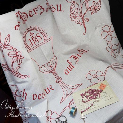 【送料無料】レア ベルギー 1900年代 アンティーク 教会またはチャペルの祭壇布 聖杯 手刺繍 motto バナー【画像5】