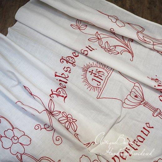 【送料無料】レア ベルギー 1900年代 アンティーク 教会またはチャペルの祭壇布 聖杯 手刺繍 motto バナー【画像6】