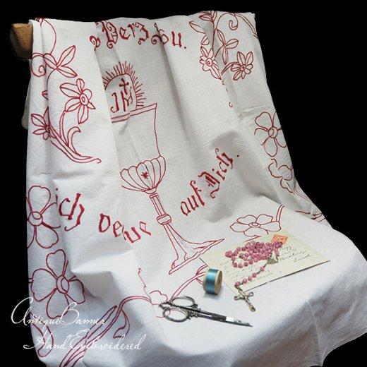 【送料無料】レア ベルギー 1900年代 アンティーク 教会またはチャペルの祭壇布 聖杯 手刺繍 motto バナー【画像10】