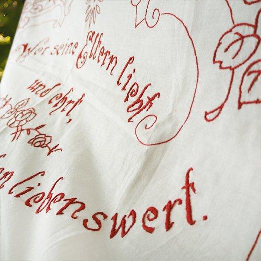 【送料無料】ベルギー 1900年代 アンティークアール・ヌーヴォー ローズ 手刺繍 motto バナー