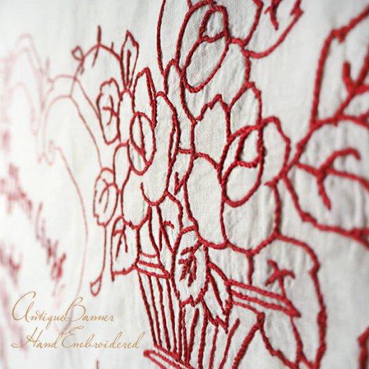【送料無料】ベルギー 1900年代 アンティークアール・ヌーヴォー ローズ 手刺繍 motto バナー【画像3】