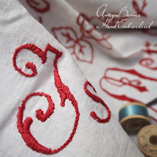【送料無料】ベルギー 1900年代 アンティークアール・ヌーヴォー ローズ 手刺繍 motto バナー【画像5】