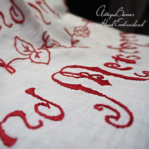 【送料無料】ベルギー 1900年代 アンティークアール・ヌーヴォー ローズ 手刺繍 motto バナー【画像8】