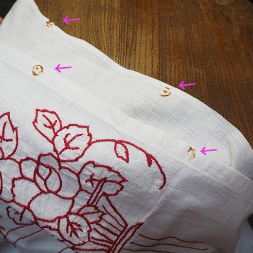 【送料無料】ベルギー 1900年代 アンティークアール・ヌーヴォー ローズ 手刺繍 motto バナー【画像10】