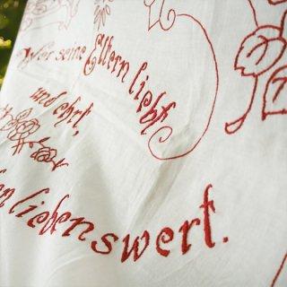 森ガール 雑貨 【送料無料】ベルギー 1900年代 アンティークアール・ヌーヴォー ローズ 手刺繍 motto バナー