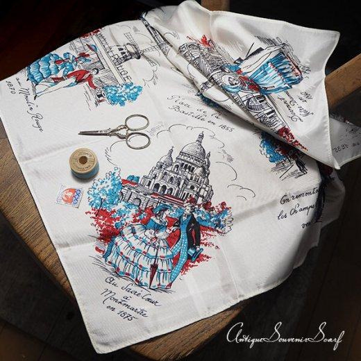 フランス製 1950年代 アンティーク パリ エッフェル塔スーベニアスカーフ【凱旋門・ムーラン・ルージュなど】