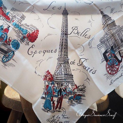フランス製 1950年代 アンティーク パリ エッフェル塔スーベニアスカーフ【凱旋門・ムーラン・ルージュなど】【画像3】