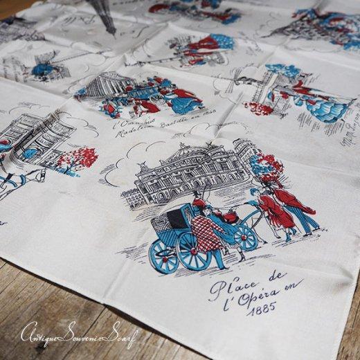 フランス製 1950年代 アンティーク パリ エッフェル塔スーベニアスカーフ【凱旋門・ムーラン・ルージュなど】【画像4】