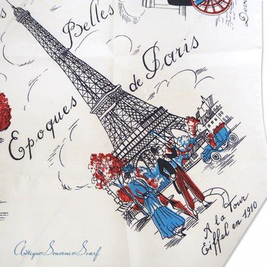 フランス製 1950年代 アンティーク パリ エッフェル塔スーベニアスカーフ【凱旋門・ムーラン・ルージュなど】【画像6】