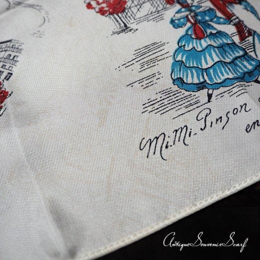 フランス製 1950年代 アンティーク パリ エッフェル塔スーベニアスカーフ【凱旋門・ムーラン・ルージュなど】【画像8】