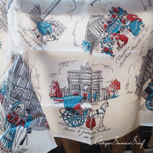 フランス製 1950年代 アンティーク パリ エッフェル塔スーベニアスカーフ【凱旋門・ムーラン・ルージュなど】【画像9】