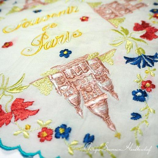 【送料無料】フランス製 1940年代 アンティーク パリ エッフェル塔スーベニア 刺繍ハンカチーフ【凱旋門・サクレ・クール寺院など】【画像3】