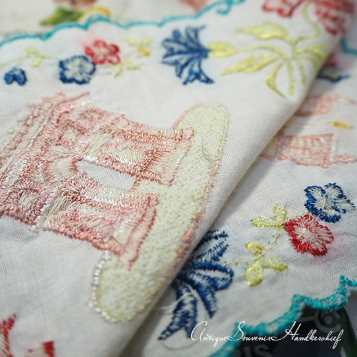 【送料無料】フランス製 1940年代 アンティーク パリ エッフェル塔スーベニア 刺繍ハンカチーフ【凱旋門・サクレ・クール寺院など】【画像5】