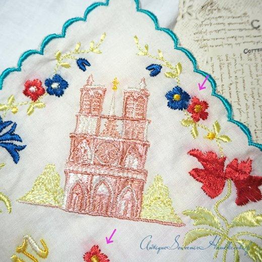 【送料無料】フランス製 1940年代 アンティーク パリ エッフェル塔スーベニア 刺繍ハンカチーフ【凱旋門・サクレ・クール寺院など】【画像8】
