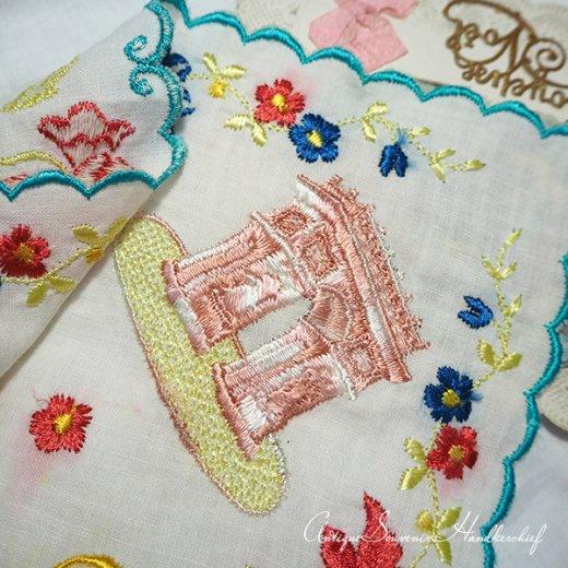 【送料無料】フランス製 1940年代 アンティーク パリ エッフェル塔スーベニア 刺繍ハンカチーフ【凱旋門・サクレ・クール寺院など】【画像10】