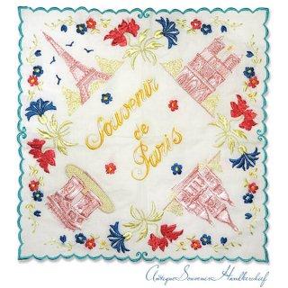 【送料無料】フランス製 1940年代 アンティーク パリ エッフェル塔スーベニア 刺繍ハンカチーフ【凱旋門・サクレ・クール寺院など】