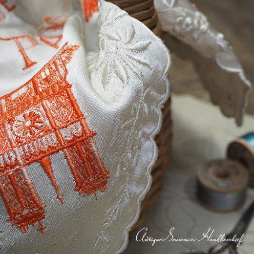 【送料無料】フランス製 1940年代 アンティーク パリ エッフェル塔スーベニア 刺繍ハンカチーフB【凱旋門・サクレ・クール寺院など】【画像5】