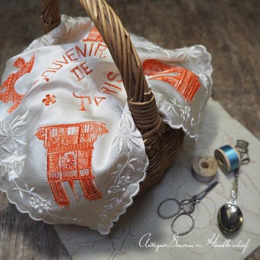 【送料無料】フランス製 1940年代 アンティーク パリ エッフェル塔スーベニア 刺繍ハンカチーフB【凱旋門・サクレ・クール寺院など】【画像8】