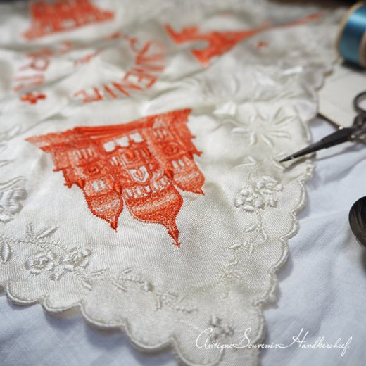 【送料無料】フランス製 1940年代 アンティーク パリ エッフェル塔スーベニア 刺繍ハンカチーフB【凱旋門・サクレ・クール寺院など】【画像10】