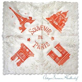 【送料無料】フランス製 1940年代 アンティーク パリ エッフェル塔スーベニア 刺繍ハンカチーフB【凱旋門・サクレ・クール寺院など】