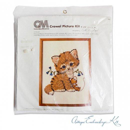 USA 1979年 ヴィンテージ 刺しゅうキット ネコ キャット柄【ベース生地・針2本・刺繍糸】【画像2】