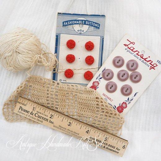 USA セットでお得 アメリカ製 アンティーク メルスリー【手芸用 ボタンシート2 インチ定規 編みかけの編み物】